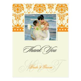 Alaranjado +  Obrigado do damasco do marfim você Cartão Postal