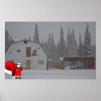 Alaskan congelado Natal da neve do papai noel do Pôsteres