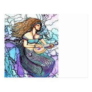 Alaúde da sereia que joga a água azul elétrica de cartão postal
