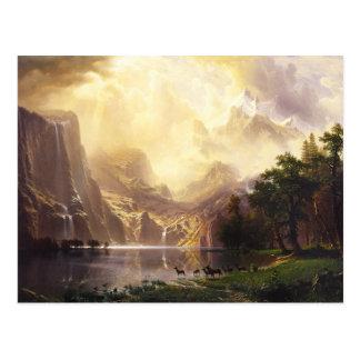 Albert Bierstadt no cartão das montanhas