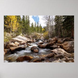 Alberta cai no parque nacional de montanha rochosa poster