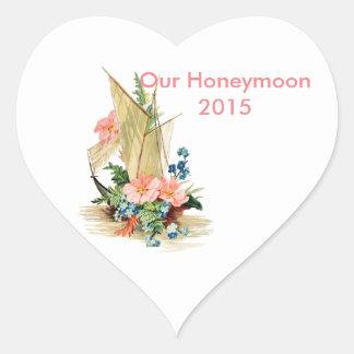 Álbum de recortes da lua de mel adesivo coração