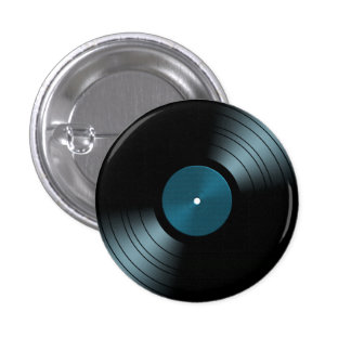 Álbum gravado de vinil do rolo da rocha n no azul bóton redondo 2.54cm