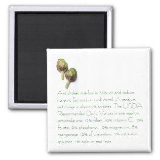 Alcachofras com informação nutritiva ímã quadrado