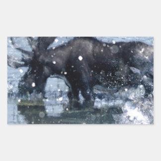 Alces nevado do inverno dos animais selvagens rúst adesivo em forma retangular