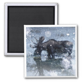Alces nevado do inverno dos animais selvagens rúst