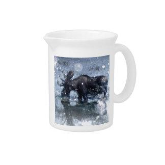 Alces nevado do inverno dos animais selvagens rúst jarro