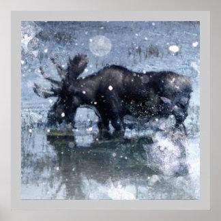 Alces nevado do inverno dos animais selvagens rúst impressão