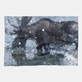 Alces nevado do inverno dos animais selvagens rúst toalha de mão