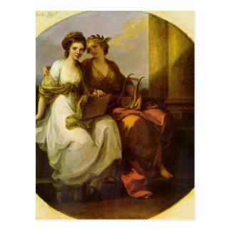 Alegoria da poesia e da música pela angélica cartão postal