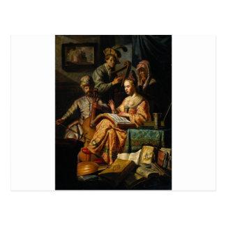 Alegoria musical por Rembrandt Cartão Postal
