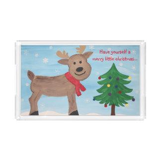 Alegre pouca bandeja da rena do Natal
