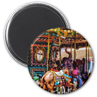 Alegre vai o círculo com elefantes ímã redondo 5.08cm