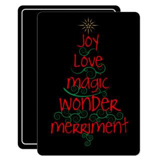 Alegria • Amor • Mágica • Maravilha • Merriment Convite 12.7 X 17.78cm