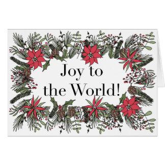 Alegria ao cartão da grinalda do Natal do mundo