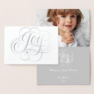 Alegria ao cartão de Natal branco da folha de