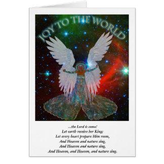 Alegria ao cartão de Natal do anjo do mundo