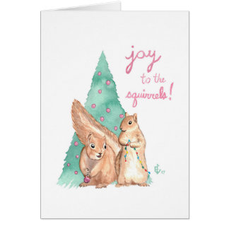 Alegria ao cartão do feriado do Natal dos esquilos
