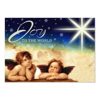 Alegria ao mundo. Cartões de Natal religiosos Convite 12.7 X 17.78cm