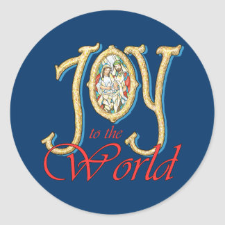 Alegria ao mundo com natividade do vitral adesivo redondo