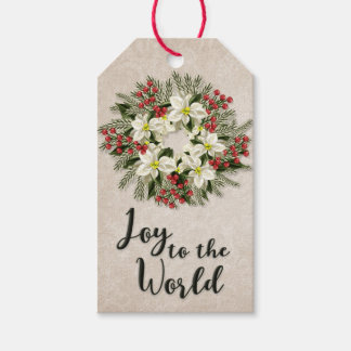Alegria ao mundo | fora da grinalda branca da etiqueta para presente