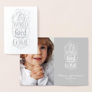 Alegria ao senhor Vinda do mundo - caligrafia Cartão Metalizado