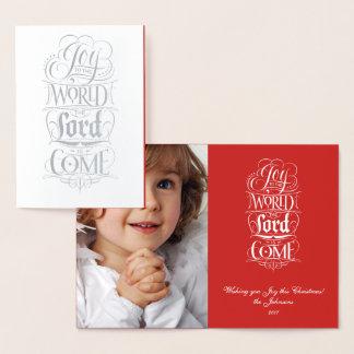 Alegria ao senhor Vinda do mundo - rotulação Cartão Metalizado