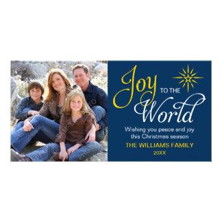 Alegria aos azuis marinhos religiosos do Natal do  Cartão Com Foto Personalizado