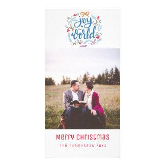 Alegria aos cartões de foto de Natal do roteiro do