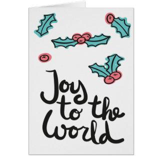 """""""Alegria cartão vazio desenhado mão ao mundo"""""""