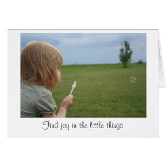 """""""Alegria cartão vazio nas coisas pequenas"""""""