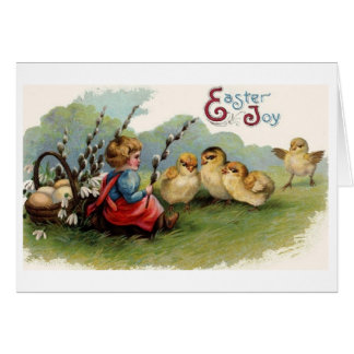 Alegria da páscoa!  Cartão da páscoa do vintage