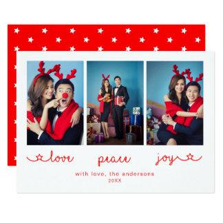 Alegria | da paz do amor cartão do Natal de 3