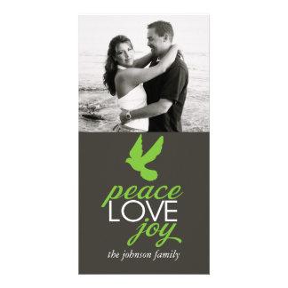 Alegria do amor da paz cartão com foto