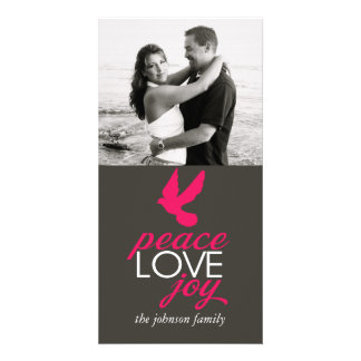 Alegria do amor da paz cartões com foto personalizados