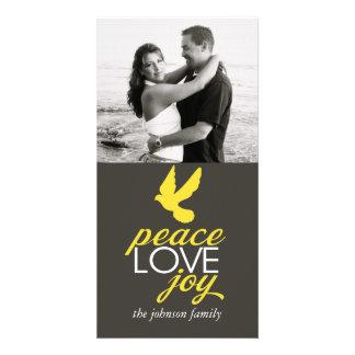 Alegria do amor da paz cartao com foto personalizado