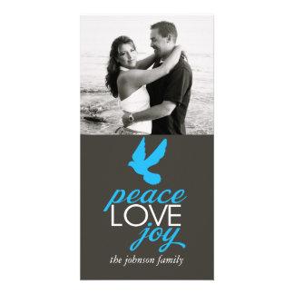 Alegria do amor da paz cartões com foto