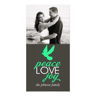 Alegria do amor da paz cartao com foto
