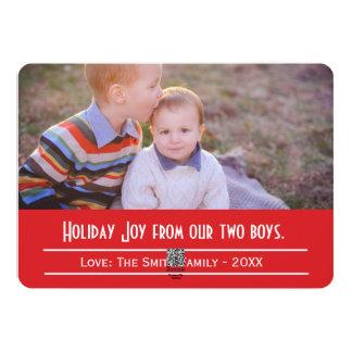 Alegria do feriado do cartão com fotos de dois