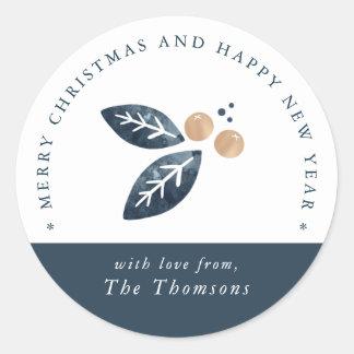 Alegria do feriado - etiqueta redonda do Natal