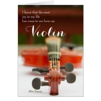 Alegria em meu cartão das citações do violino