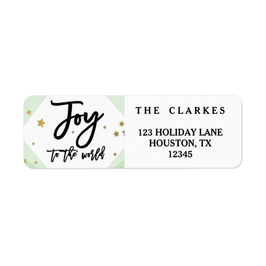 Alegria moderna à etiqueta de endereço do feriado