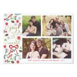 Alegria moderna ao cartão com fotos dos feriados convites personalizados