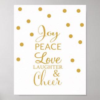 Alegria, paz, amor, riso, & elogio - impressão da