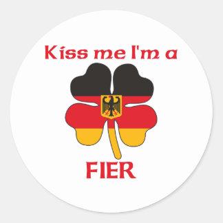 Alemães personalizados beijam-me que eu sou Fier Adesivo Em Formato Redondo