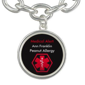 Alerta médico personalizado da alergia do amendoim bracelete com pingente