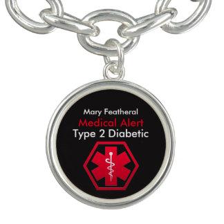 Alerta médico personalizado do diabético braceletes com charms