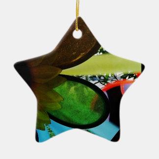 Aleta de vento ornamento de cerâmica estrela