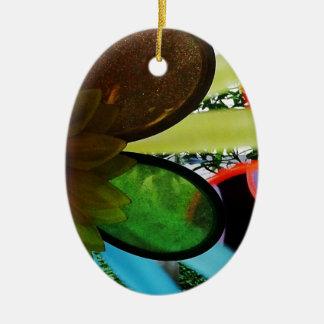 Aleta de vento ornamento de cerâmica oval
