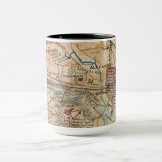 Alexandria, caneca antiga do mapa do VA